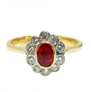 Bespoke David Simmons Ruby & Diamond Flower 18ct Yellow Gold Ring