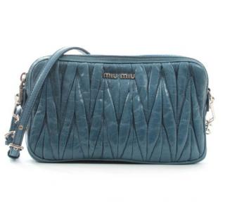 Miu Miu Blue Matelasse Crossbody Bag