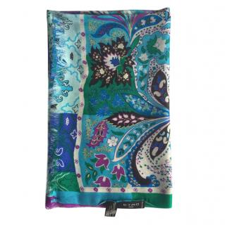Etro Blue Paisley Print Cashmere & Silk Scarf