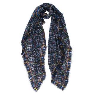 Chanel Black & Blue Tweed Print Cashmere CC Shawl