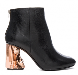 Acne Studios Black Ora Ankle Boots with Copper Heel