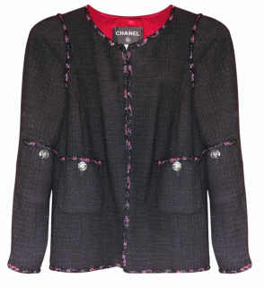 Chanel Black Tweed Jacket with Multicoloured Braided Trim