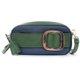 Prada Blue & Green Saffiano Leather Crossbody Bag