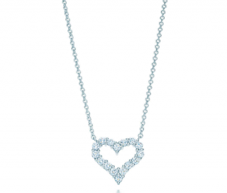 Tiffany & Co. Tiffany Hearts Diamond Pendant Platinum Necklace