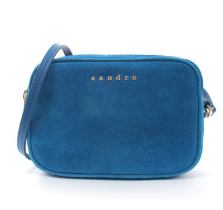 Sandro Blue Suede Crossbody Double Zip Bag