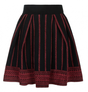 Maje Red/Black Jacquard Skater Skirt