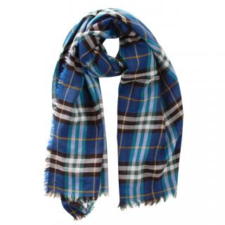 Burberry Blue Plaid Wool Blend Scarf