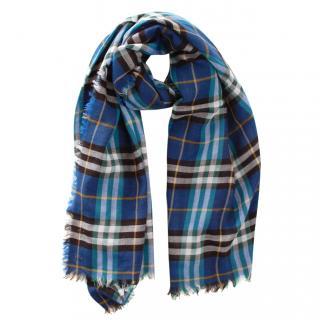 Burberry Blue Plaid Wool Blend Scarf