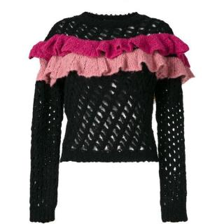 Boutique Moschino Ruffle Trim Black Alpaca & Wool Blend Jumper