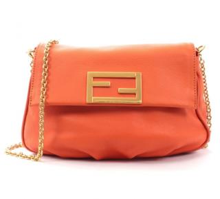 Fendi Orange Leather Baguette Shoulder Bag