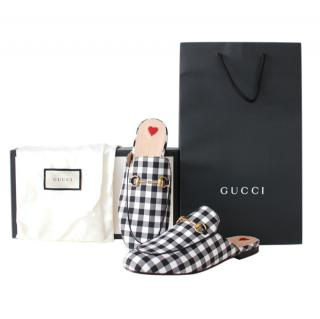 Gucci Black & White Gingham Princetown Slippers