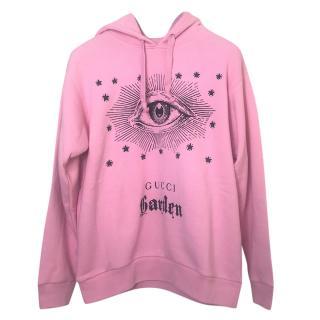 Gucci Garden Pink Eye Print Oversize Hoodie