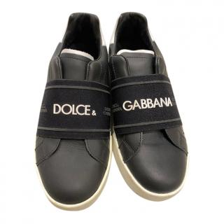 Dolce & Gabbana Kids Black & White Logo Strap Sneakers