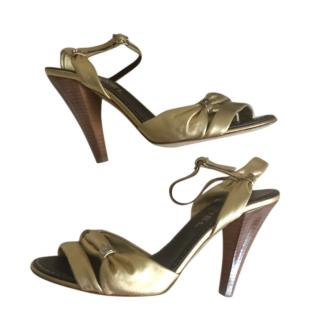 Chanel Gold Leather Wooden Heel Sandals
