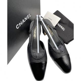 Chanel Black Calfskin/Goatskin Cap-Toe Slingback Sandals
