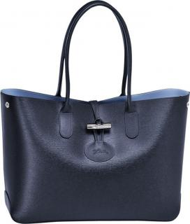 Longchamp Navy Grained Leather Roseau Shoulder Bag