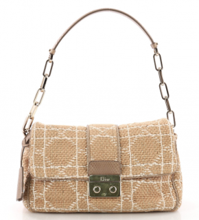 DIor Beige Silk, Leather & Python Lock Flap Bag