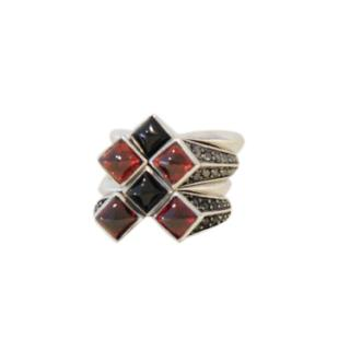 Stephen Webster Sterling Silver Stack Rings w/ Diamond, Onyx & Garnet