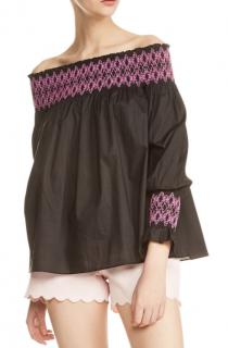 Maje Lafour Black & Pink Off-Shoulder Top