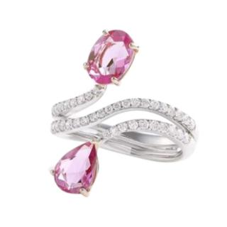 William & Son Beneath The Rose Pink Sapphire & Diamond Crossover Ring