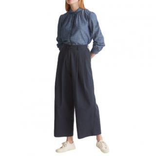 Margaret Howell Navy Merino Wool Wide Leg Pants