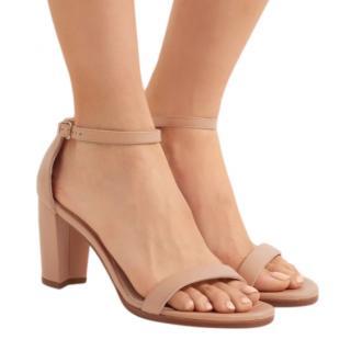 Stuart Weitzman NearlyNude Patent Block Heel Sandals