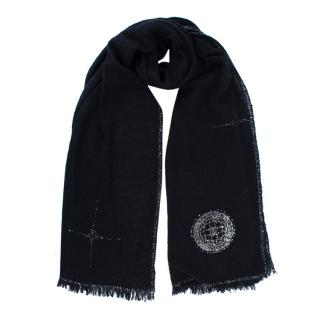 Chanel Navy & Silver Cashmere & Silk Sequin Space Agency Patch Scarf