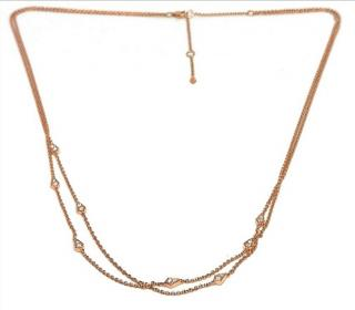William & Son 18ct Rose Gold Double Strand Diamond Necklace