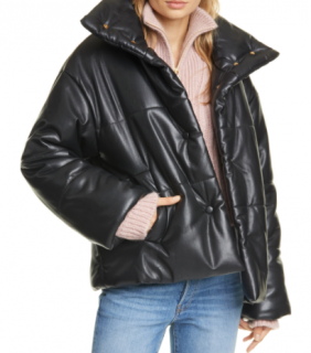 Nanushka Black Vegan Hide Puffer Jacket
