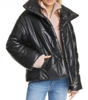 Nanushka Black Vegan Hide Puffer Jacket