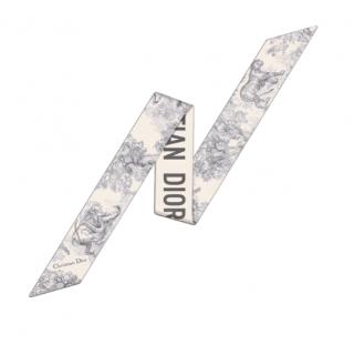 Dior Grey Silk Twill Toile De Jouy Mitzah Scarf
