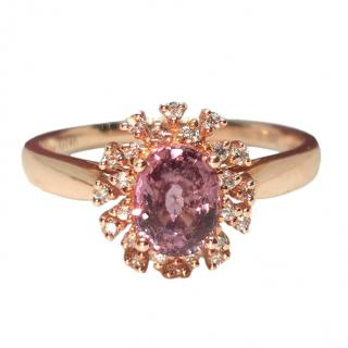 Bespoke Victoria London 18ct Rose Gold Sapphire & Diamond Cluster Ring