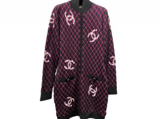 Chanel Black & Pink CC Diamond Knit Zip Dress/Cardigan