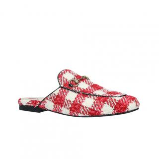 Gucci Red & White Check Princetown Tweed Slippers