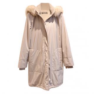 Loro Piana Beige Cashmere Lined Fox Fur Trimmed Coat