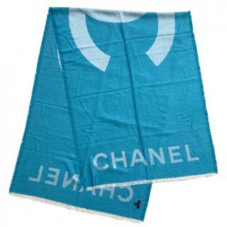 Chanel Blue Cashmere & Silk CC Stole