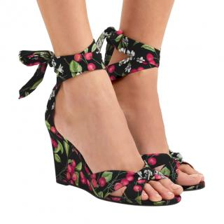 Aquazzura Cherry Blossom Print Wedge Tie Sandals