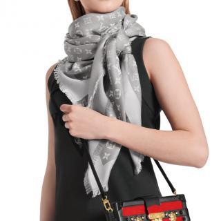 Louis Vuitton Pearl Grey Silk & Wool Blend Monogram Denim Shawl