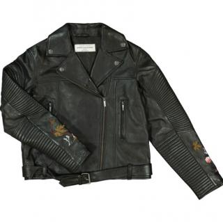 John Galliano Kids 10Y Embroidered Leather Jacket