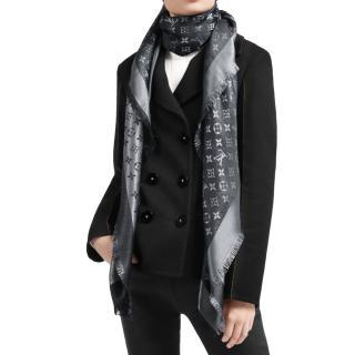 Louis Vuitton Black Silk & Wool Blend Monogram Shine Shawl