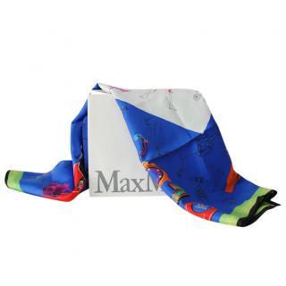 Max Mara Blue & Green Printed Silk Scarf