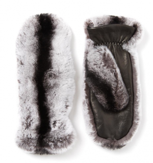 Joseph Rex Rabbit Fur & Leather Mittens