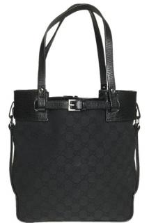 Gucci Monogram Canvas Leather Buckle Detail Tote Bag