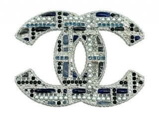 Chanel Silver & Blue Crystal CC Brooch