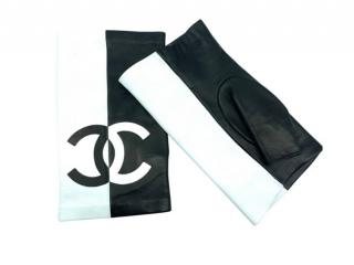 Chanel Black & White Leather CC Fingerless Gloves