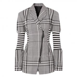 Burberry Runway Black & White Check Corset Detail Wool Blazer Jacket