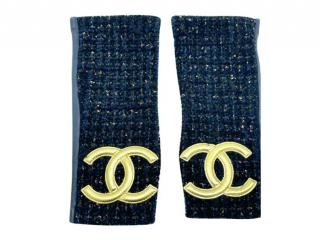 Chanel blue tweed cc fingerless gloves