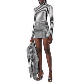 Burberry Runway Black & White Check Wool Mini Skirt