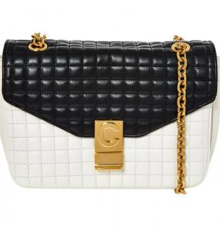 Celine black & white medium C lock shoulder bag