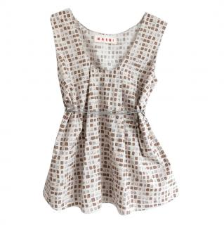 Marni Printed Sleeveless Cord Tie Blouse